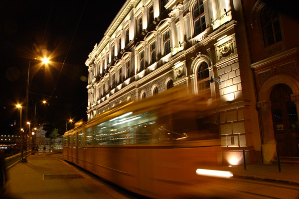 Tram on Buda Side of Danube 11x14 matted print