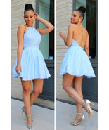 Halter Blue Lace Halter Criss Cross Short Prom Dresses Homecoming Dress - $89.99+