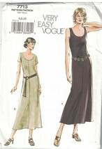7713 UNCUT Vogue Sewing Pattern Misses Pull on Slightly flared Dress Sle... - $4.89
