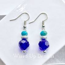 Turquoise Bead with Dark Indigo Round Faceted Glass Dangle Earrings - Ha... - ₹603.17 INR
