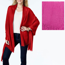 New ANNE KLEIN Boho Chic Heather Gauze Shawl Womens Wrap Scarf Pink - €9,17 EUR