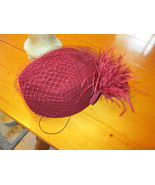Vtg  LADIES Burgundy Veil  HAT SIGNED BY FEDORIA 100% WOOL fancy feather back - $26.00
