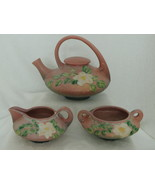 Roseville USA White Rose Pattern Pink Tea Set With Teapot Creamer & Sugar  - $550.00