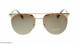 Versace Pilot Men Sunglasses VE2181 125273 Orange Pale Gold/Brown Authen... - $163.93