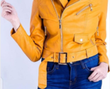 Stylish Orange Studded Fashion Strap Leather Jacket