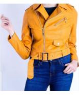 Stylish Orange Studded Fashion Strap Leather Jacket - $150.99+