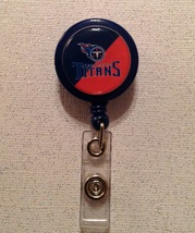Nfl Tennessee Titans Badge Reel Id Holder red blue alligator clip handma... - $6.95