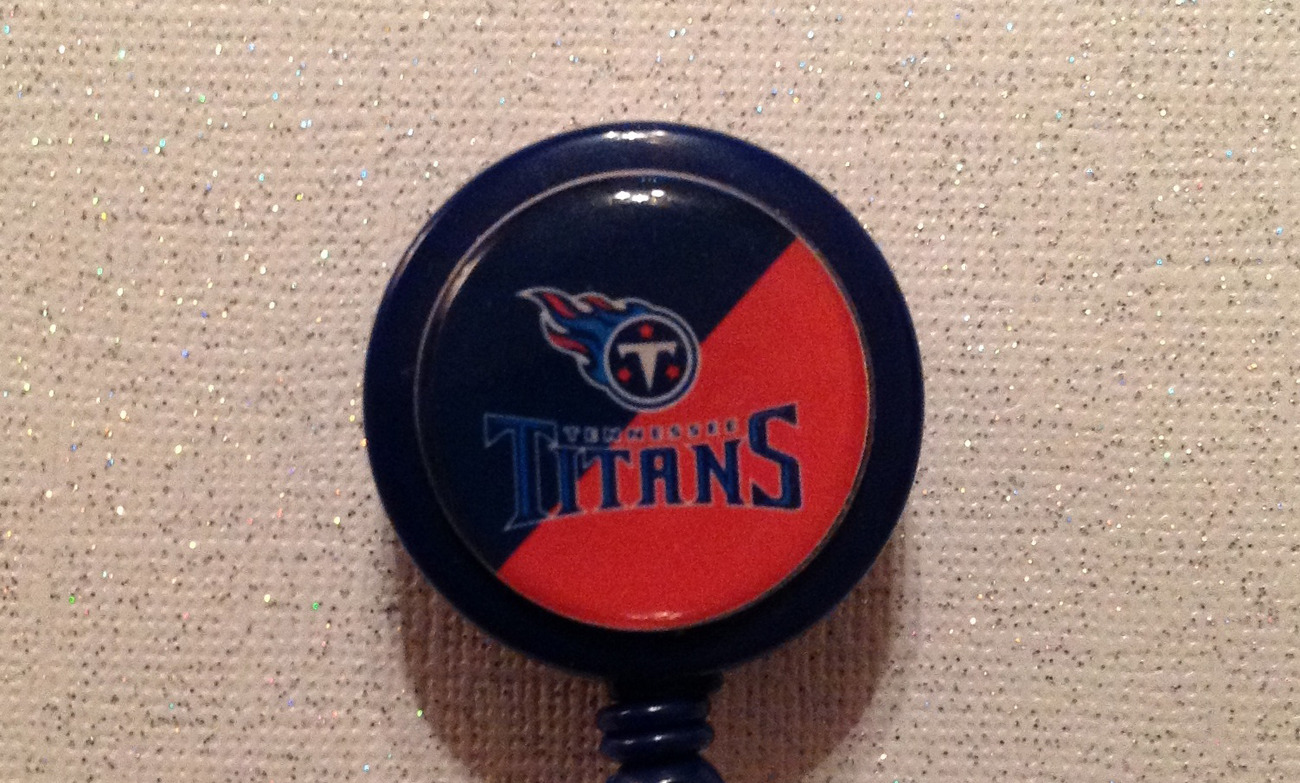 Primary image for Nfl Tennessee Titans Badge Reel Id Holder red blue alligator clip handmade new