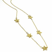 """SOLID 18K YELLOW GOLD NECKLACE WITH 9mm FLAT STARS, ROLO OVAL CHAIN 18"""" image 2"""