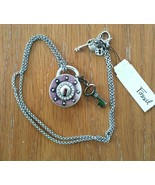 Fossil Large Lock w/Crystals and Key Pendant Necklace JA3937040 w/Add Ch... - $44.95