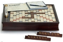 Scrabble Deluxe Wooden Edition with Rotating Game Board, Raised Grid Bro... - $229.87