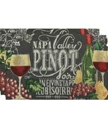"""Set of 2 Tapestry Placemats, 13"""" x 19"""", WINE & GRAPES, NAPA VALLEY PINOT... - $9.89"""