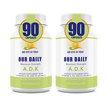 Our Daily Vites 2 PK ADK Physician Formulated Vitamins A1, D3 & K2 as MK7 - Bone