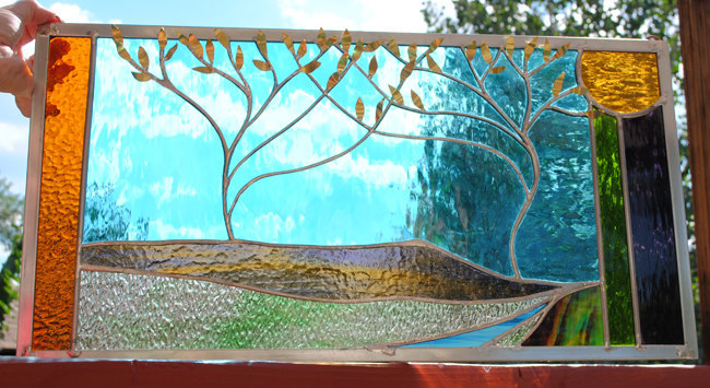 Stained Glass Window Panel  mountain valley trees turquoise gold purple