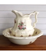VB Athena California Art Pottery Roses Embossed Footed Pitcher and Basin... - $64.99