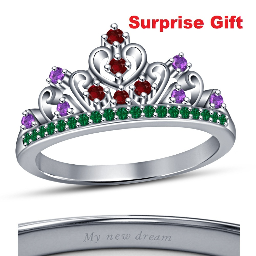 White Gold Fn Disney Princess Ariel Wedding Engagement Crown Ring For Christmas