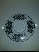 Duncan Miller Glass 2 Handled Teardrop Sandwich Plate Silver Overlay 40s... - $14.95