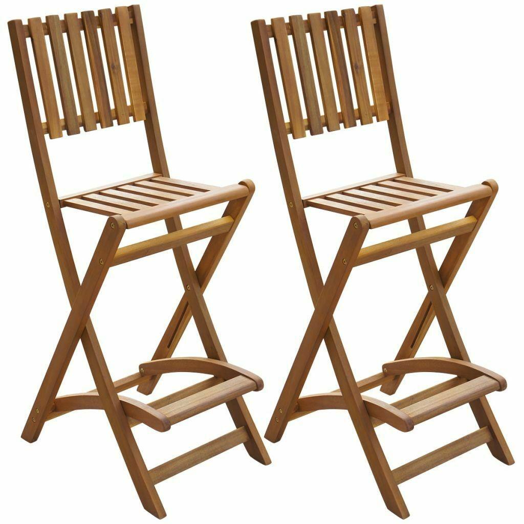 vidaXL Set of 2 Patio Wood Bar Stools Outdoor Acacia Wooden Chair Seats Garden