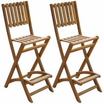 vidaXL Set of 2 Patio Wood Bar Stools Outdoor Acacia Wooden Chair Seats ... - $116.99