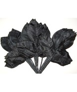 Vintage BLACK SATIN Rose Leaves Flower Hat Mill... - $9.25