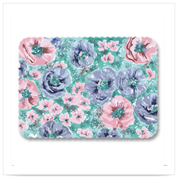 Whispering Floral Scalloped 13 5/8 x 18 3/4 Nonskid Healthcare Traymats/Case of