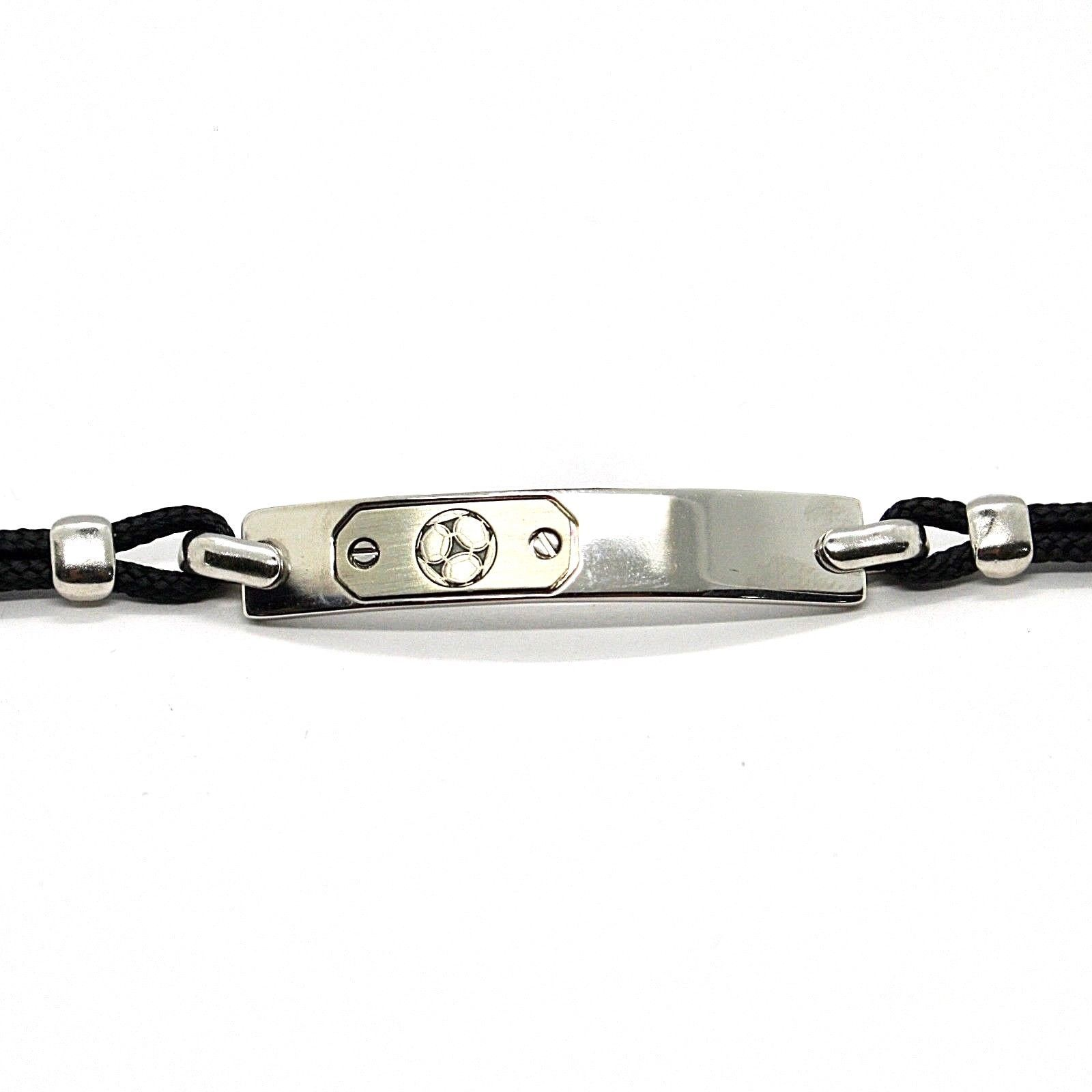 SILVER 925 BRACELET RHODIUM PLATE WITH SOCCER BALL AND ROPE 7 1/8in