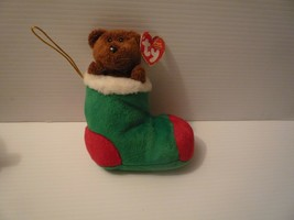 Ty Bean Baby Babies Brown Plush  Bear in Christmas Stocking Mint wiht Ta... - $5.94