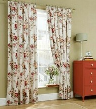 Cath Kidston Garden Rose Floral Red Cream Lined Pencil Pleat Curtains 9 Sizes - $62.82+