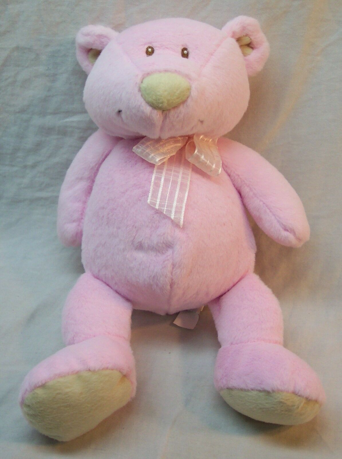 "Primary image for Baby Ganz CUTE SOFT BABY PINK & TAN TEDDY BEAR RATTLE 11"" Plush Stuffed Animal"