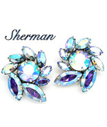 Vintage Sherman Earrings Blue Aurora Borealis Stones Pinwheel Design - $49.95