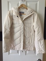 Columbia Women S Full Zip Duck Down Outdoor Ivory White Jacket hood convert - $103.95