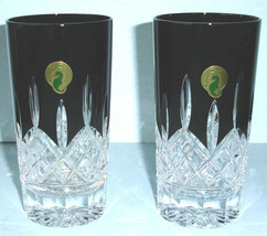 Waterford Lismore Black Crystal Highball Pair 10.8 oz. #40021872 New In Box - $276.90