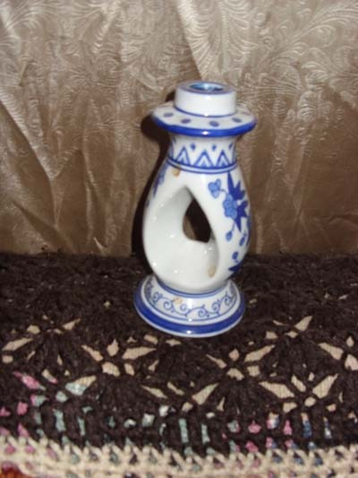 Primary image for Ornate Blue Flow Candle Holder
