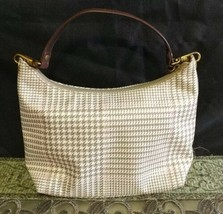 Lauren Ralph Lauren Handbag Tan Brown Ivory Houndstooth Purse ml - $24.75