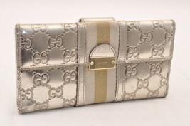 94108d54a088 GUCCI Sherry Line Long Wallet Enamel Silver Auth 5449 - $99.00