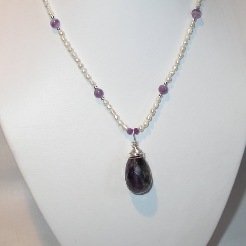 Necklace - Sterling Silver wrapped large Amethyst drop with