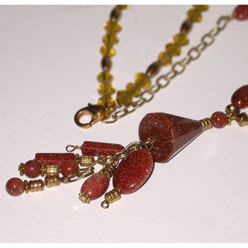 Gold stone, sun sitara Designer NECKLACE. Special Price & Fr