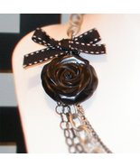Chained!   Designer Necklace chained to hand carved ROSE. - $43.00