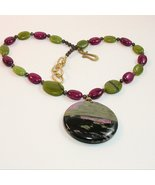 RHODONITE PENDANT and necklace - Natural beauty rare gemston - $33.75