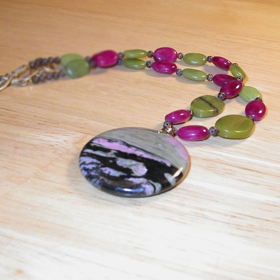 RHODONITE PENDANT and necklace - Natural beauty rare gemston