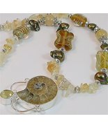 Gorgeous Ammonite and Citrine gemstone necklace and bracelet - $95.00