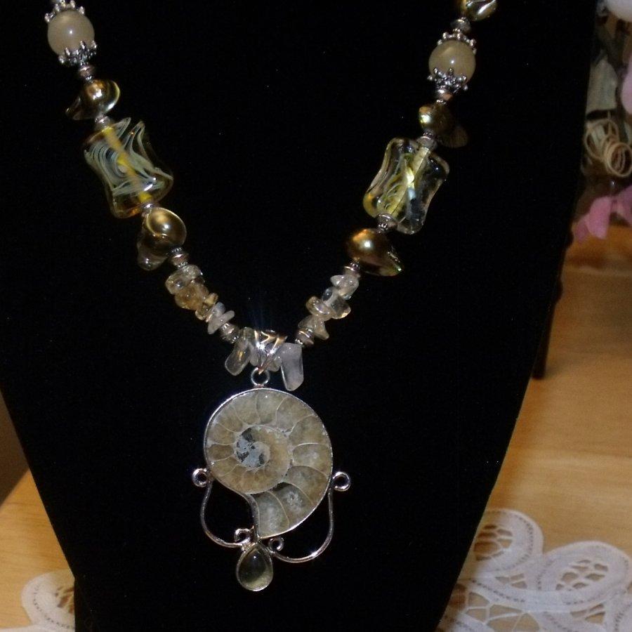 Gorgeous Ammonite and Citrine gemstone necklace and bracelet