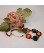 Round and Round - NECKLACE and EARRING - multi color AGATES - $57.50