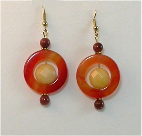 Round and Round - NECKLACE and EARRING - multi color AGATES