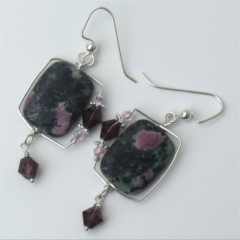 Earring- Natural Ruby Zoisite semiprecious stone wire wrappe