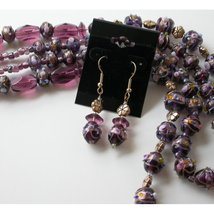 Earrings and Necklace with Hand made fused glass beads JEWEL - $75.00