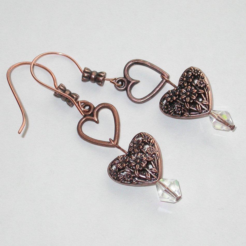 Hearts of Copper - Copper hearts Earrings - Unique