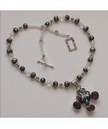 Romantic NECKLACE with PEARL, AMETHYST and SILVER pendant - $79.95