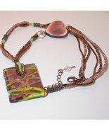 Unique three strand Necklace with dichroic glass pendant  - $27.50