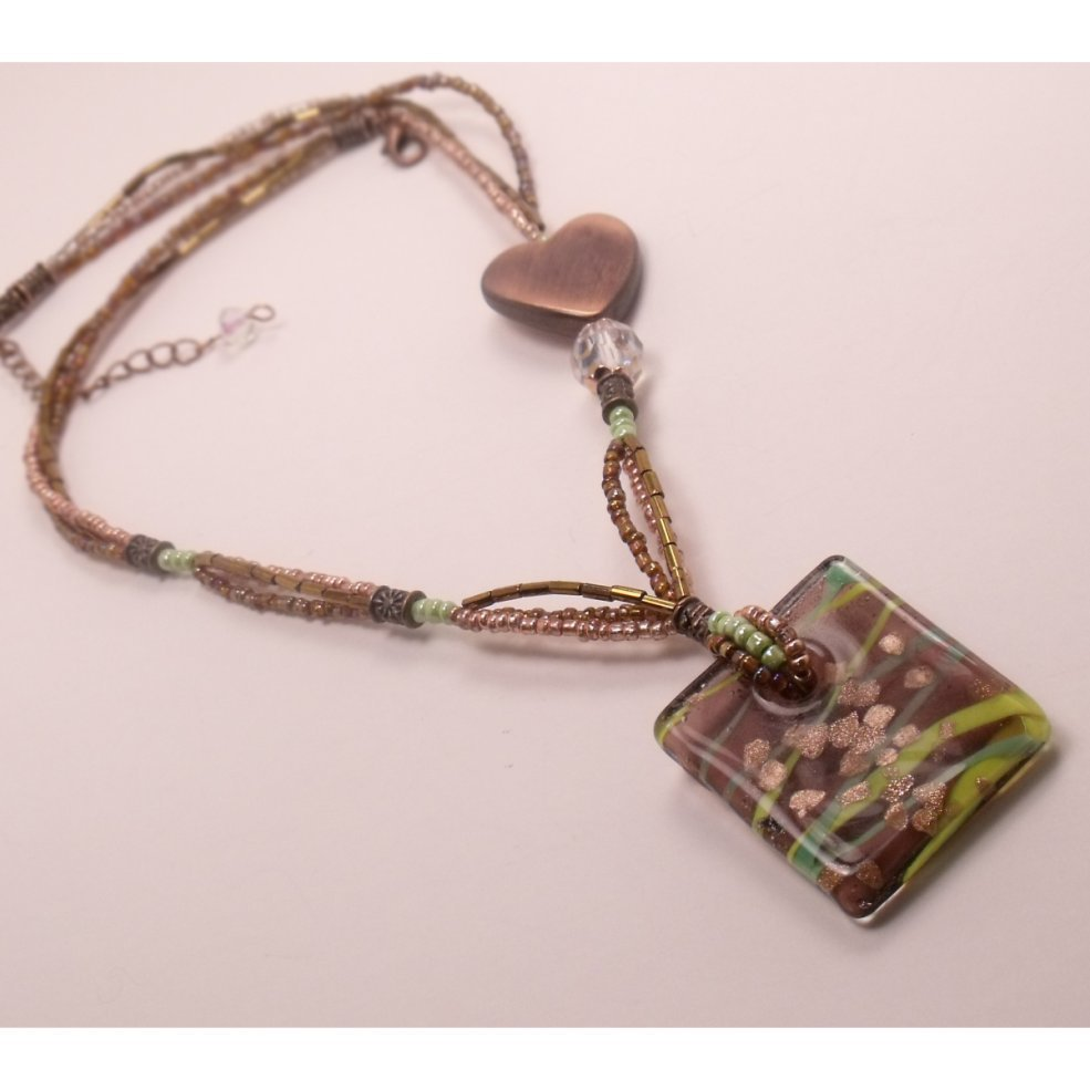 Unique three strand Necklace with dichroic glass pendant